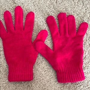 Bright pink chenille gloves.